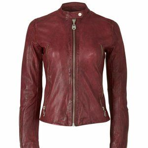 Doma Motorcycle Collarless Leather Jacket